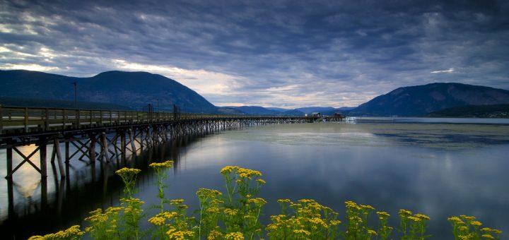 Wharf and summer foliage along Shuswap Lake, Salmon Arm, BC